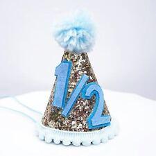 Gold Glitter Sparkles Blue 1/2 Birthday Boy Cone Party Hat Toddler Birthday 6m