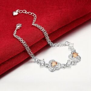 Bolo Bracelet 925 Sterling Silver Round Citrine Jewelry for Women Adjustable