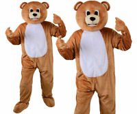 Adult Funny Teddy Bear Big Head Mascot Costume Fancy Dress Animal Zoo Jungle New