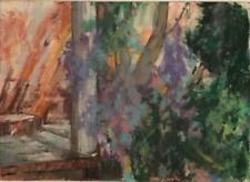 Vintage Impressionist Listed NY Artist Frank Zuccarelli Climbing Wisteria Pastel