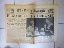 VINTAGE The Daily Telegraph 'Elizabeth II Crowned'  3 June 1953