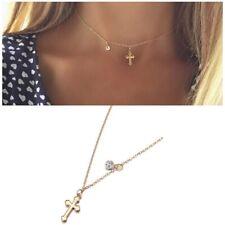Women Small Gold Cross Gold Crystal Pendant Cross Chocker Chain Necklace Jewelry