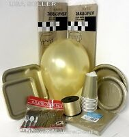Gold Party Paper Plates Napkins Cups Cutlery Table Covers Balloons Tableware