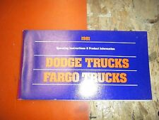 1981 DODGE FARGO TRUCK FACTORY OWNERS MANUAL OPERATORS GLOVE BOX BOOK