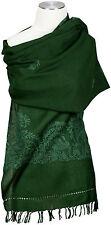 Wollschal Grün handbestickt 100% Wolle wool hand embroidered stole écharpe Green