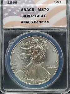 KEY DATE 1996 ANACS MS70 American Silver Eagle / Classic Flag Label / Light Spot