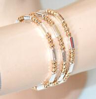 SET 3 PULSERAS elásticas mujer colgantes dorado plata oro brazalete armband GP16