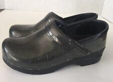 DANSKO Petrol Professional Black Iridescent Patent Leather Clogs Size 38 7.5 8