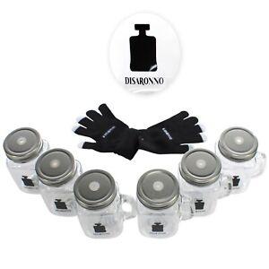6x Disaronno Gläser Set + Handschuhe Einweck Glas Drinking Jar Bar Gastro Likör