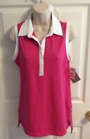 NEW Reebok Women's Pink Collared Golf Tennis Athletic Sleeveless Top Shirt Small