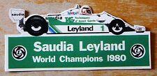 SAUDIA LEYLAND Williams 1980 Formula 1 Team Racing Motorsport Adesivo / Decalcomania