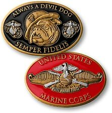 """Always a Devil Dog"" Challenge Coin US Marine Corps USMC Bulldog Fleet Force"