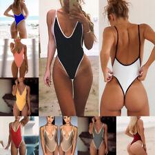 Women V Neck Thong One Piece Bikini Monokini Swimsuit Swimwear Bathing Beachwear