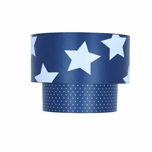 Kids Childrens 2 Tier Navy & White Stars Easy Fit Ceiling Light Shade Boys Room