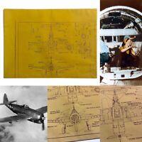 WWII 1944 U.S. Army Air Corps Republic P-47 Thunderbolt Blueprint WW2 Relic