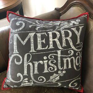 """Pottery Barn Christmas Chalkboard """"Merry Christmas"""" Pillow  20"""""""