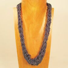 """24"""" Hematite Color Braided Handmade Seed Bead Statement Necklace FREE SHIPPING!"""