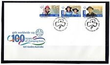 2010 Australia 100 Years Of Girl Guides Set Of 3 Gummed Stamps FDC, VGC