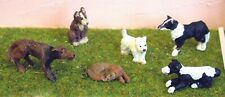 7 Dogs L30p PAINTED O Scale Model 1/43 Animals Metal