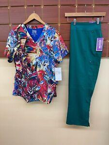 NEW Hunter Green Print Scrubs Set With 2XL Top & Healing Hands 2XL Petite Pants