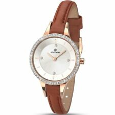 Ladies Accurist 8043 Contemporary Stone Set Leather Strap Watch