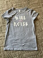 """Womens Under Armour """"Will Over Noise"""" T Shirt Gray XS Heat Gear - Free Shipping"""