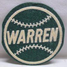 Vintage Baseball Patch Warren Round Felt Wisconsin Green 3 1/2 inch