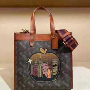 Coach Field Tote in Signature Canvas with Big Apple Skyline C0769