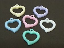 100 HEARTS Ring Multicolor acrylic plastic charms / loose beads / pendants