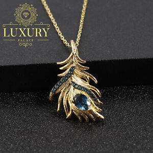 Natural London Blue Topaz 925 Sterling Silver Handmade Feather Pendant Necklace