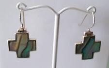 Sterling Silver Cross Design Pau/Abalone Shell Earring.