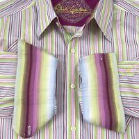Robert Graham Mens Multicolor Striped Shirt L Flip Cuffs Button Up Long Sleeve