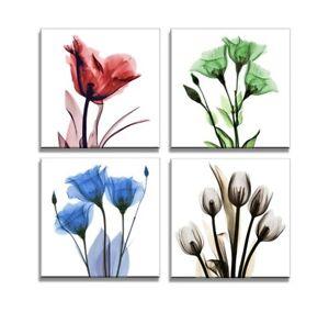 Bilder auf Leinwand 4x 30x30cm Blumen