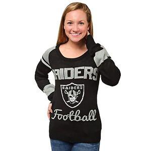 Oakland Raiders Women's Glitter Scoop Sweater NEW