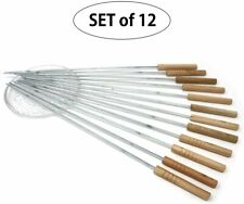 """BBQ Fork Roasting Stick BBQ Skewer Sitck. Stainless 16"""" Wooden Handle Reusable"""