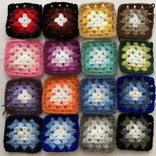 "(light-medium-dark Colour Mix) 16 x Traditional Crochet Granny Squares 3"" x 3"""