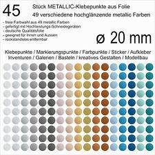 45 Stück Klebepunkte aus Folie metallic glänzend rund 20 mm Aufkleber Inventur