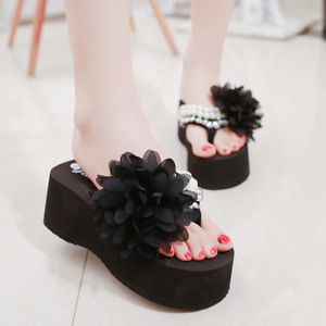 Elegant Womens Pearl Flip Flops Summer Sandals Platform Wedges Chanclas De Mujer