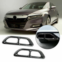 2pcs Black Steel Rear Cylinder Exhaust Pipe Cover Trim Fits Accord 18-19