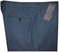 $345 NEW ZANELLA ITALY PETER DARK BLUE WOOL LINEN SLIM FIT DRESS PANTS 32
