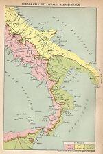 A2947 Idrografia Italia Meridionale - Carta geografica antica del 1910 - Old Map