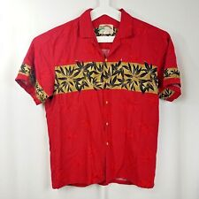 ddd03e3c Vintage Paradise Found Mens Hawaiian Shirt Size Large Red Rayon Floral  Leaves