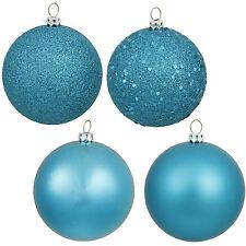 "Vickerman 2.4"" Turquoise Plastic Ball Christmas Tree Ornaments (Set of 24)"