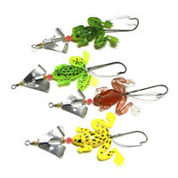Frog Soft Fish Sequin Single Hook Weedless Bait Spinner Fishing Lures Hooks *4L