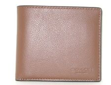 Coach Men's F75084 Double Billfold Wallet Dark Saddle Sport Calf Leather NWT