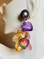 VTG Runway Earrings Mod Dangle Drop Lucite Puffy Heart Colorful Translucent
