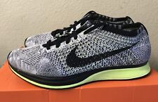 Nike Flyknit Racer Black White Volt Mens Sz 10 Lunar Trainer Running Shoes 2014