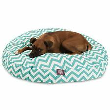 Teal Chevron Large Round Indoor Outdoor Pet Dog Bed With Removable Washable C.
