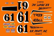 #61 Richie Evans B.R. Dewitt Torino 1969 1/64th HO Scale Slot Car Decals
