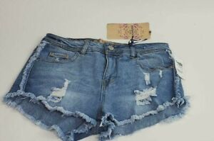 Charlotte Russe Juniors Size 5 Highway Frayed Distressed Blue Booty Shorts 27X2
